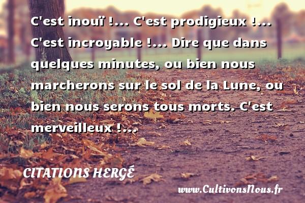 C est inouï !... C est prodigieux !... C est incroyable !... Dire que dans quelques minutes, ou bien nous marcherons sur le sol de la Lune, ou bien nous serons tous morts. C est merveilleux !... Une citation de Hergé CITATIONS HERGÉ - Citations Hergé