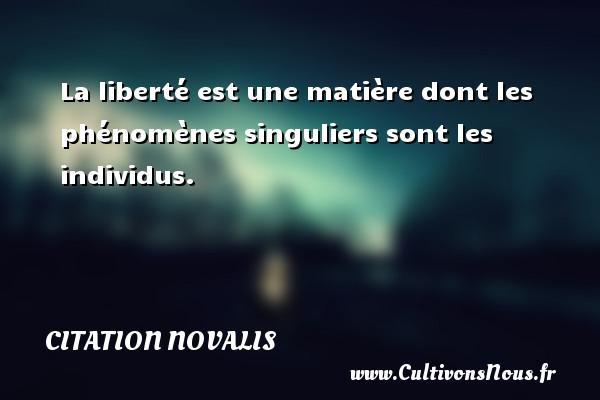 La liberté est une matière dont les phénomènes singuliers sont les individus. Une citation de Novalis CITATION NOVALIS