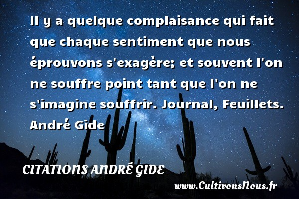 Il y a quelque complaisance qui fait que chaque sentiment que nous éprouvons s exagère; et souvent l on ne souffre point tant que l on ne s imagine souffrir.  Journal, Feuillets. André Gide CITATIONS ANDRÉ GIDE - Citations André Gide