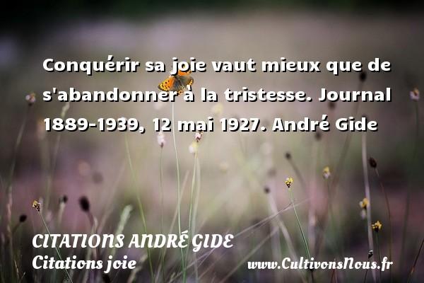 Conquérir sa joie vaut mieux que de s abandonner à la tristesse.  Journal 1889-1939, 12 mai 1927. André Gide CITATIONS ANDRÉ GIDE - Citations André Gide - Citations joie
