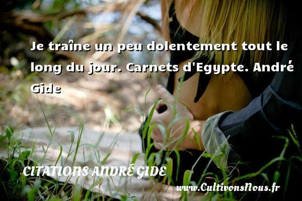 Je traîne un peu dolentement tout le long du jour.  Carnets d Egypte. André Gide CITATIONS ANDRÉ GIDE - Citations André Gide