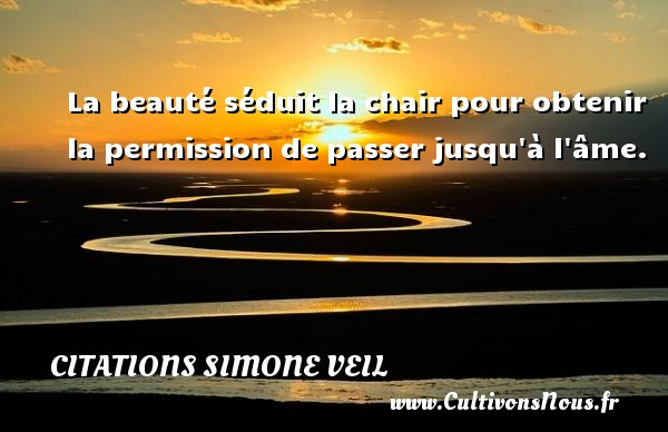 Citations - Citations Simone Veil - La beauté séduit la chair pour obtenir la permission de passer jusqu à l âme.   Une citation de Simone Veil CITATIONS SIMONE VEIL