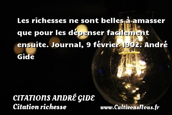 Les richesses ne sont belles à amasser que pour les dépenser facilement ensuite.  Journal, 9 février 1902. André Gide CITATIONS ANDRÉ GIDE - Citations André Gide - Citation richesse