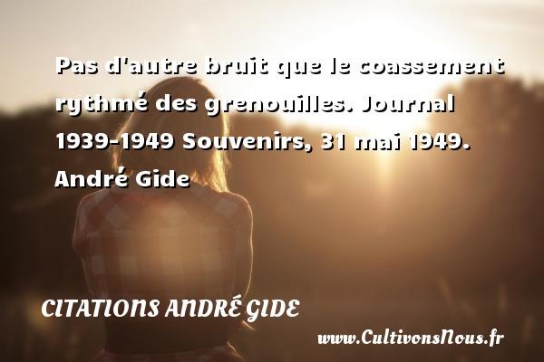 Pas d autre bruit que le coassement rythmé des grenouilles.  Journal 1939-1949 Souvenirs, 31 mai 1949. André Gide CITATIONS ANDRÉ GIDE - Citations André Gide