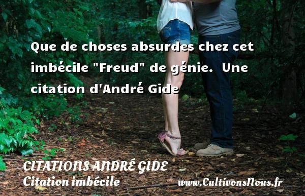 Que de choses absurdes chez cet imbécile  Freud  de génie.   Une  citation  d André Gide CITATIONS ANDRÉ GIDE - Citations André Gide - Citation imbécile