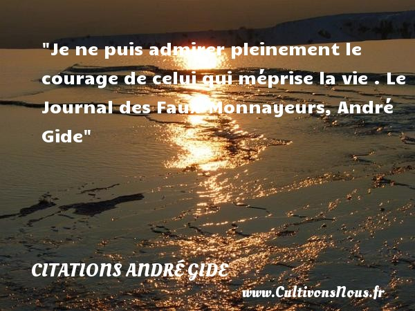 Je ne puis admirer pleinement le courage de celui qui méprise la vie .  Le Journal des Faux-Monnayeurs, André Gide   Une citation sur le courage CITATIONS ANDRÉ GIDE - Citations André Gide - Citation courage