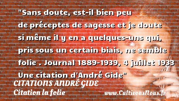 Sans doute, est-il bien peu depréceptes de sagesse et je doute simême il y en a quelques-uns qui, prissous un certain biais, ne semble folie .  Journal 1889-1939, 4 juillet 1933  Une  citation  d André Gide CITATIONS ANDRÉ GIDE - Citations André Gide - Citation folie