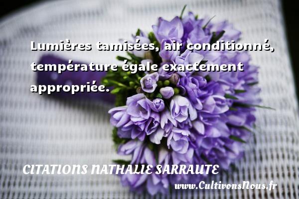 Lumières tamisées, air conditionné, température égale exactement appropriée. Une citation de Nathalie Sarraute CITATIONS NATHALIE SARRAUTE