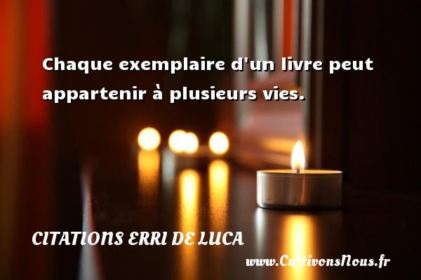 Chaque exemplaire d un livre peut appartenir à plusieurs vies. Une citation d  Erri De Luca CITATIONS ERRI DE LUCA