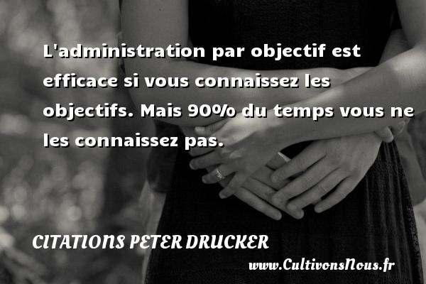 Citations Peter Drucker - L administration par objectif est efficace si vous connaissez les objectifs. Mais 90% du temps vous ne les connaissez pas. Une citation de Peter Drucker CITATIONS PETER DRUCKER