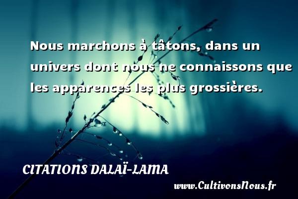 Citations Dalaï-Lama - Nous marchons à tâtons, dans un univers dont nous ne connaissons que les apparences les plus grossières. Une citation de Dalaï-Lama CITATIONS DALAÏ-LAMA