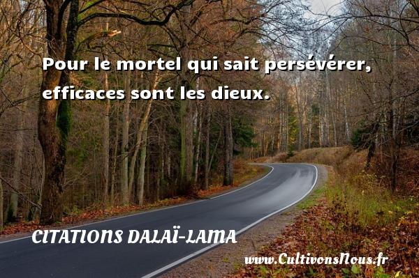 Citations Dalaï-Lama - Pour le mortel qui sait persévérer, efficaces sont les dieux. Une citation de Dalaï-Lama CITATIONS DALAÏ-LAMA