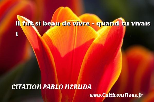 Citation Pablo Neruda - Il fut si beau de vivre - quand tu vivais ! Une citation de Pablo Neruda CITATION PABLO NERUDA