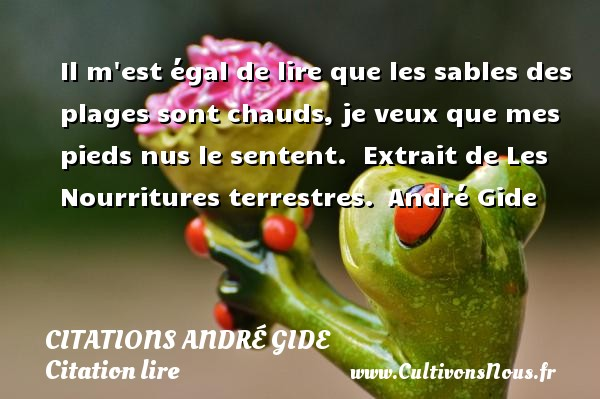Il m est égal de lire que les sables des plages sont chauds, je veux que mes pieds nus le sentent.   Extrait de Les Nourritures terrestres.  André Gide CITATIONS ANDRÉ GIDE - Citations André Gide - Citation lire
