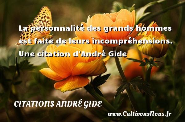 La personnalité des grands hommes est faite de leurs incompréhensions.   Une  citation  d André Gide CITATIONS ANDRÉ GIDE - Citations André Gide