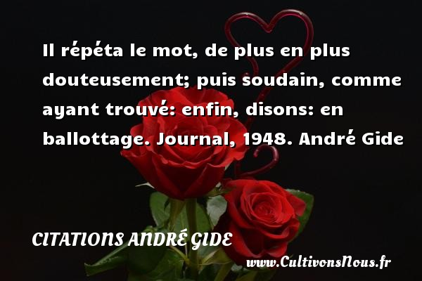 Il répéta le mot, de plus en plus douteusement; puis soudain, comme ayant trouvé: enfin, disons: en ballottage.  Journal, 1948. André Gide CITATIONS ANDRÉ GIDE - Citations André Gide
