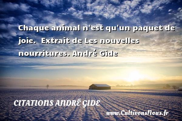 Chaque animal n est qu un paquet de joie.   Extrait de Les nouvelles nourritures. André Gide CITATIONS ANDRÉ GIDE - Citations André Gide