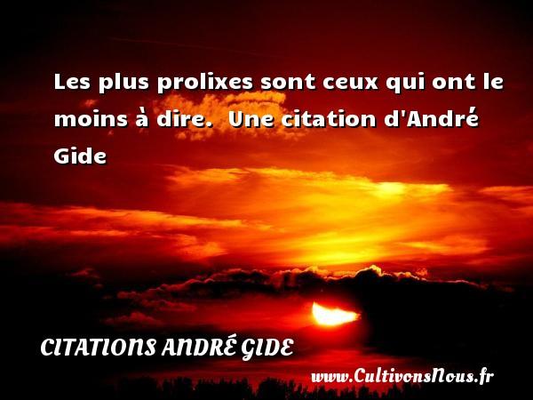 Les plus prolixes sont ceux qui ont le moins à dire.   Une  citation  d André Gide CITATIONS ANDRÉ GIDE - Citations André Gide