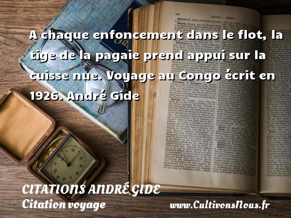 A chaque enfoncement dans le flot, la tige de la pagaie prend appui sur la cuisse nue.  Voyage au Congo écrit en 1926. André Gide CITATIONS ANDRÉ GIDE - Citations André Gide - Citation voyage