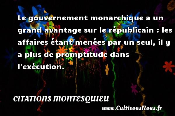 Le gouvernement monarchique a un grand avantage sur le républicain : les affaires étant menées par un seul, il y a plus de promptitude dans l exécution. Une citation de Montesquieu CITATIONS MONTESQUIEU