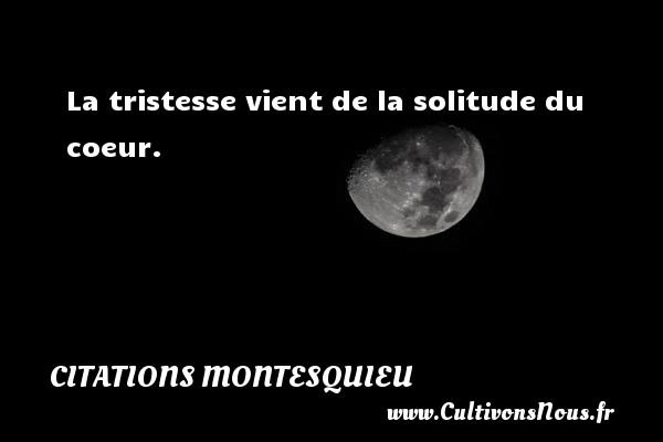 Citations Montesquieu - La tristesse vient de la solitude du coeur. Une citation de Montesquieu CITATIONS MONTESQUIEU