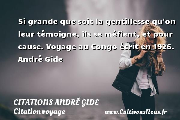 Si grande que soit la gentillesse qu on leur témoigne, ils se méfient, et pour cause.  Voyage au Congo écrit en 1926. André Gide CITATIONS ANDRÉ GIDE - Citations André Gide - Citation voyage