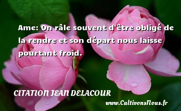 Citation Jean Delacour - Ame: On râle souvent d être obligé de la rendre et son départ nous laisse pourtant froid. Une citation de Jean Delacour CITATION JEAN DELACOUR
