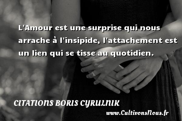 Citations Boris Cyrulnik - L Amour est une surprise qui nous arrache à l insipide, l attachement est un lien qui se tisse au quotidien. Une citation de Boris Cyrulnik CITATIONS BORIS CYRULNIK