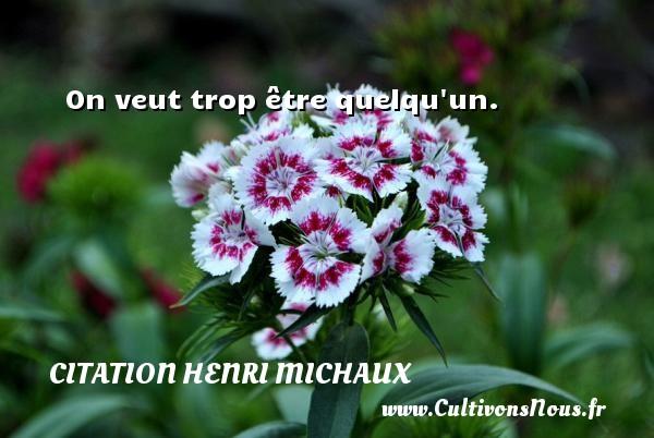 Citation Henri Michaux - On veut trop être quelqu un. Une citation de Henri Michaux CITATION HENRI MICHAUX