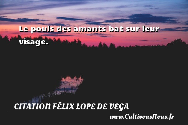 Le pouls des amants bat sur leur visage. Une citation de Félix Lope De Vega CITATION FÉLIX LOPE DE VEGA - Citation Félix Lope De Vega