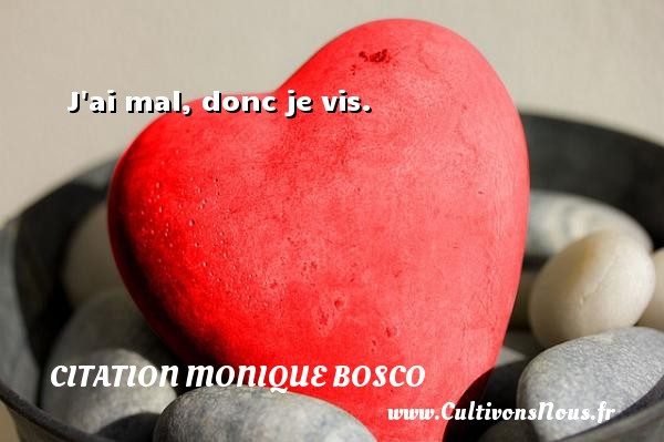 J ai mal, donc je vis. Une citation de Monique Bosco CITATION MONIQUE BOSCO