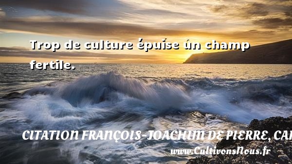Trop de culture épuise un champ fertile. Une citation de Cardinal de Bernis CITATION FRANÇOIS-JOACHIM DE PIERRE, CARDINAL DE BERNIS - Citation François-Joachim de Pierre, Cardinal de Bernis