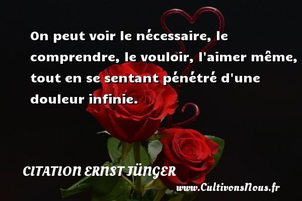 Citation Ernst Jünger - On peut voir le nécessaire, le comprendre, le vouloir, l aimer même, tout en se sentant pénétré d une douleur infinie. Une citation d  Ernst Jünger CITATION ERNST JÜNGER
