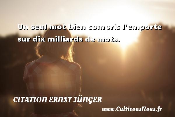 Un seul mot bien compris l emporte sur dix milliards de mots. Une citation d  Ernst Jünger CITATION ERNST JÜNGER - Citation Ernst Jünger