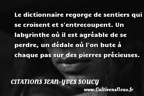 Citations Jean-Yves Soucy - Le dictionnaire regorge de sentiers qui se croisent et s entrecoupent. Un labyrinthe où il est agréable de se perdre, un dédale où l on bute à chaque pas sur des pierres précieuses. Une citation de Jean-Yves Soucy CITATIONS JEAN-YVES SOUCY