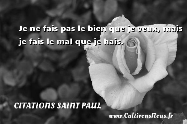 Citations Saint Paul - Je ne fais pas le bien que je veux, mais je fais le mal que je hais. Une citation de Saint Paul CITATIONS SAINT PAUL