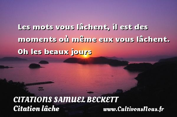 Les mots vous lâchent, il est des moments où même eux vous lâchent.  Oh les beaux jours   Une citation de Samuel Beckett CITATIONS SAMUEL BECKETT - Citation lâche