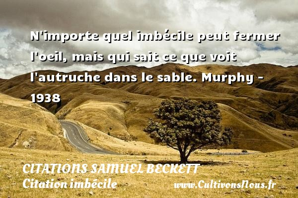 Citations Samuel Beckett - Citation imbécile - N importe quel imbécile peut fermer l oeil, mais qui sait ce que voit l autruche dans le sable.  Murphy - 1938   Une citation de Samuel Beckett CITATIONS SAMUEL BECKETT