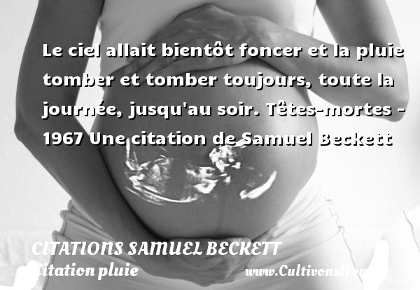 Le ciel allait bientôt foncer et la pluie tomber et tomber toujours, toute la journée, jusqu au soir.  Têtes-mortes - 1967  Une  citation  de Samuel Beckett CITATIONS SAMUEL BECKETT - Citation pluie