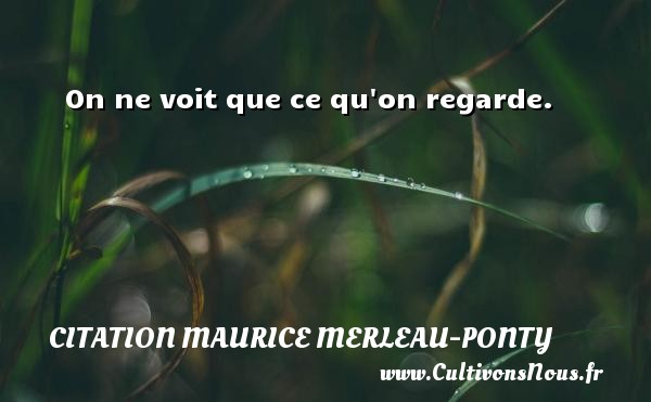 Citation Maurice Merleau-Ponty - On ne voit que ce qu on regarde. Une citation de Maurice Merleau-Ponty CITATION MAURICE MERLEAU-PONTY