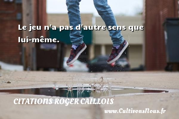 Le jeu n a pas d autre sens que lui-même. Une citation de Roger Caillois CITATIONS ROGER CAILLOIS