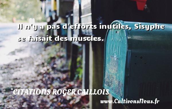 Il n y a pas d efforts inutiles, Sisyphe se faisait des muscles. Une citation de Roger Caillois CITATIONS ROGER CAILLOIS