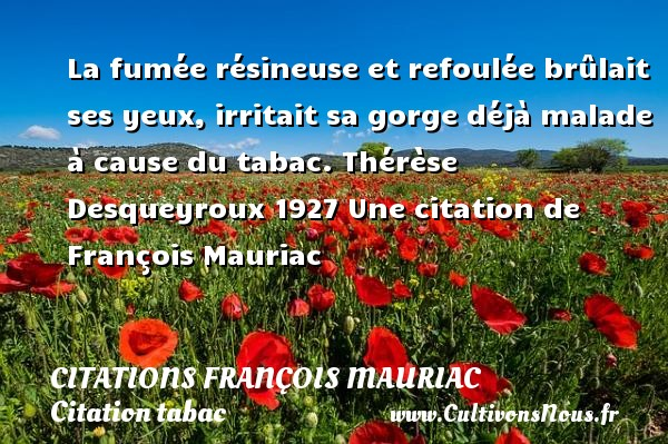 La fumée résineuse et refoulée brûlait ses yeux, irritait sa gorge déjà malade à cause du tabac.  Thérèse Desqueyroux 1927  Une  citation  de François Mauriac CITATIONS FRANÇOIS MAURIAC - Citations François Mauriac - Citation tabac