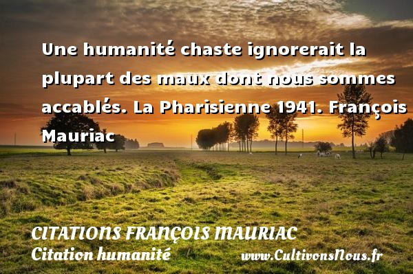 Une humanité chaste ignorerait la plupart des maux dont nous sommes accablés.  La Pharisienne 1941. François Mauriac CITATIONS FRANÇOIS MAURIAC - Citations François Mauriac - Citation humanité