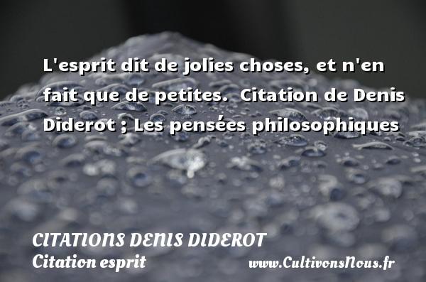 Citations Denis Diderot - Citation esprit - L esprit dit de jolies choses, et n en fait que de petites.    Citation  de Denis Diderot ; Les pensées philosophiques CITATIONS DENIS DIDEROT