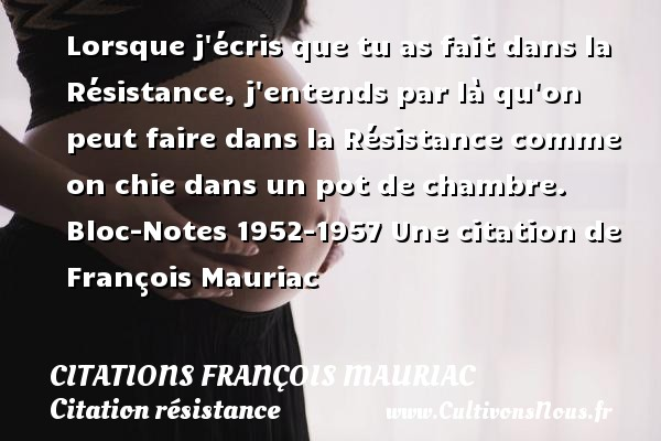 Lorsque j écris que tu as fait dans la Résistance, j entends par là qu on peut faire dans la Résistance comme on chie dans un pot de chambre.  Bloc-Notes 1952-1957  Une  citation  de François Mauriac CITATIONS FRANÇOIS MAURIAC - Citations François Mauriac - Citation résistance