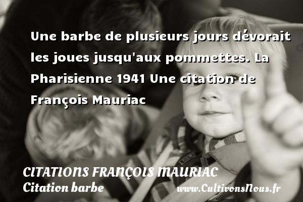 Une barbe de plusieurs jours dévorait les joues jusqu aux pommettes.  La Pharisienne 1941  Une  citation  de François Mauriac CITATIONS FRANÇOIS MAURIAC - Citations François Mauriac - Citation barbe