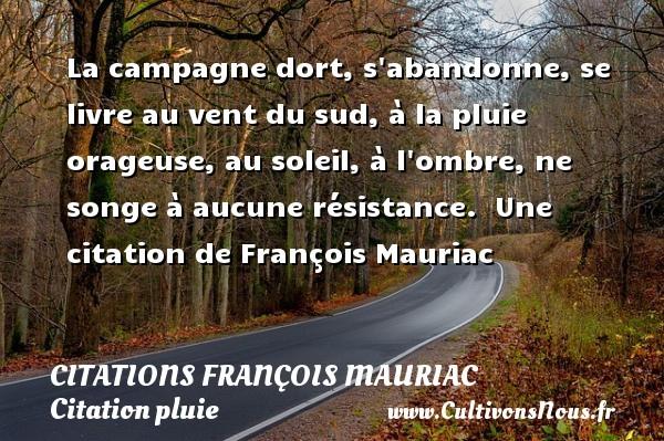 Citations - Citations François Mauriac - Citation pluie - La campagne dort, s abandonne, se livre au vent du sud, à la pluie orageuse, au soleil, à l ombre, ne songe à aucune résistance.   Une  citation  de François Mauriac CITATIONS FRANÇOIS MAURIAC