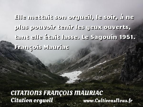 Elle mettait son orgueil, le soir, à ne plus pouvoir tenir les yeux ouverts, tant elle était lasse.  Le Sagouin 1951. François Mauriac CITATIONS FRANÇOIS MAURIAC - Citations François Mauriac - Citation orgueil