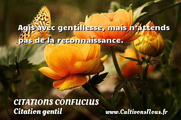 Agis avec gentillesse, mais n'attends pas de la reconnaissance.   Une citation de Confucius CITATIONS CONFUCIUS - Citation gentil